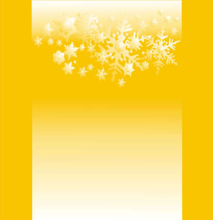 parting merry christmas: beautiful snow background card on yellow
