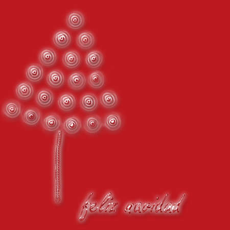 parting merry christmas: crystal tree on red background