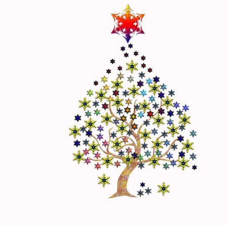 Christmas tree with stars over white image Stock Photo