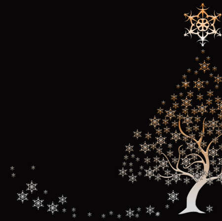 parting merry christmas: beautiful Christmas tree with stars Stock Photo