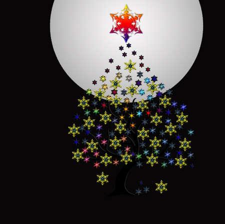 Christmas tree with snow stars
