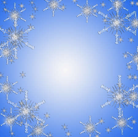 Christmas with snow stars on blue Stock Photo - 16332354