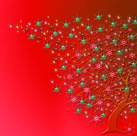 parting merry christmas: albero con stelle di molti colori