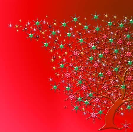 parting merry christmas: tree with stars of many colors