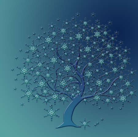 tree beautiful blue snow crystals Stock Photo - 16332369