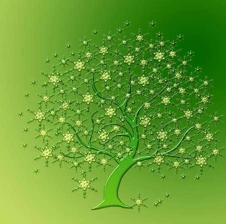 tree green snow crystals