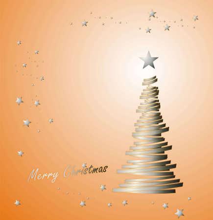 parting merry christmas: Albero di Natale con il nastro da regalo e le stelle