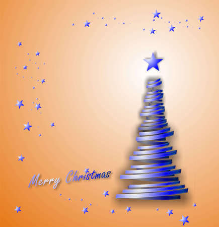 parting merry christmas: Christmas tree with gift ribbon and stars on blue Stock Photo