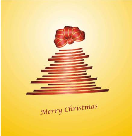 parting merry christmas: rosso albero di Natale con nastro dono e chignon