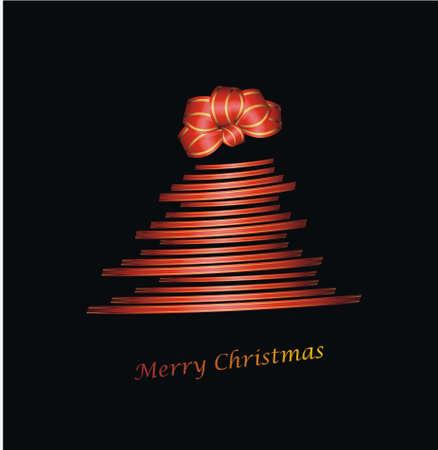 parting merry christmas: Albero di Natale con nastro regalo e chignon su nero Vettoriali