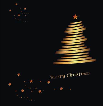 merry chrismas: tree gold and stars