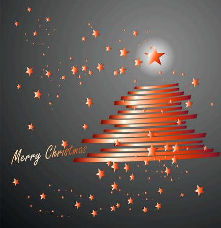 merry chrismas: merry chrismas and tree red  Illustration