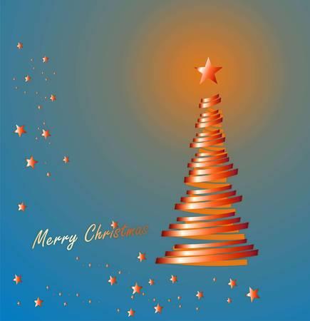 parting merry christmas: merry chrismas e albero rosso su blu Vettoriali