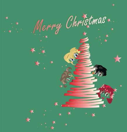 parting merry christmas: Albero di Natale dei bambini del mondo s