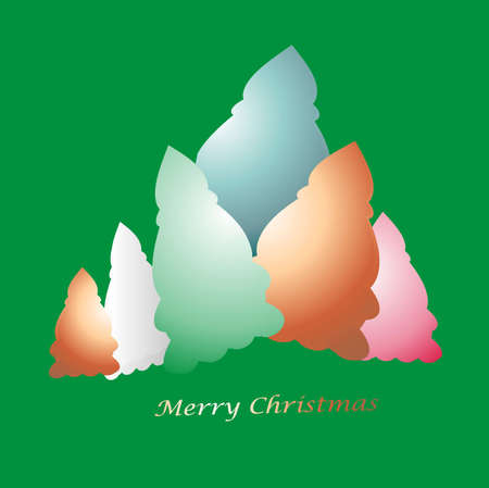 Christmas trees in various colors photo