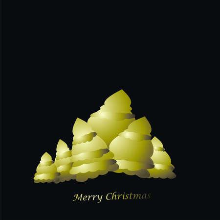 parting merry christmas: alberi verdi su fondo nero