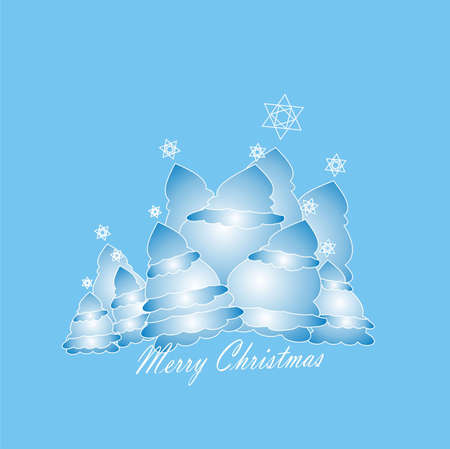 parting merry christmas: trees blue Stock Photo
