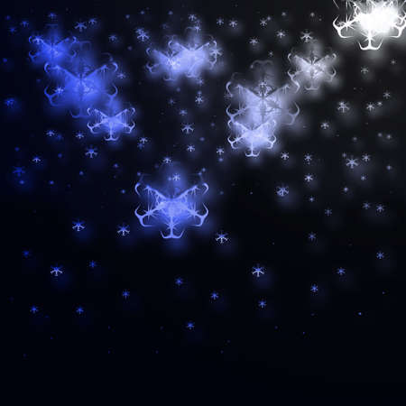 parting merry christmas: stelle blu su sfondo nero Archivio Fotografico
