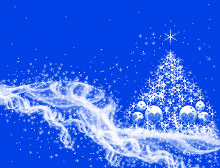 parting merry christmas: Christmas tree in snow Stock Photo
