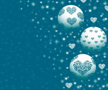 parting merry christmas: Christmas ornaments on blue Stock Photo