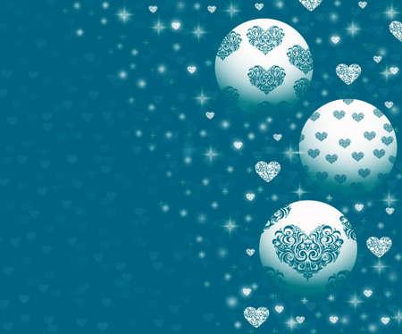 parting merry christmas: Ornamenti di Natale su sfondo blu Archivio Fotografico