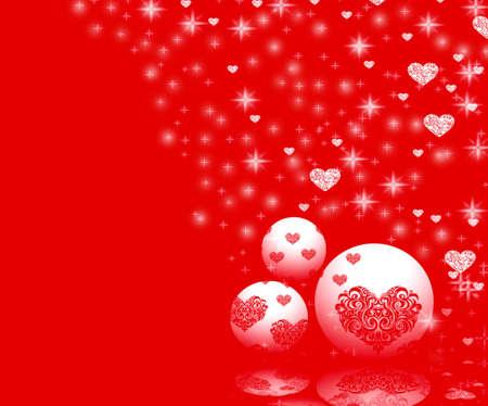 parting merry christmas: Ornamenti di Natale e cuori sul rosso