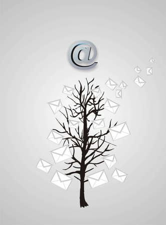 parting merry christmas: Albero di Natale da messaggi di posta elettronica su grigio Archivio Fotografico