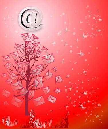 parting merry christmas: Christmas tree from emails on red Stock Photo