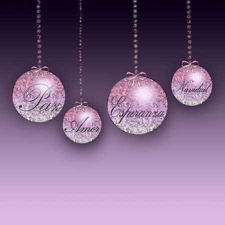 Christmas ornaments with the words love, hope and peace photo