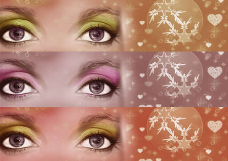 parting merry christmas: Christmas makeup, different colors Stock Photo