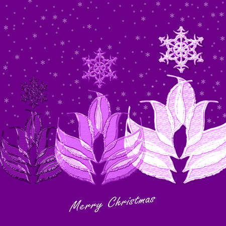 parting merry christmas: Christmas tree on violet Stock Photo