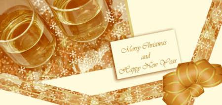 parting merry christmas: Carta e coppa Archivio Fotografico