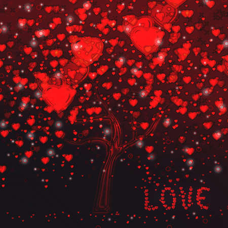 love tree with hearts photo