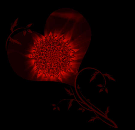 black textures: beautiful heart of flower on black background Stock Photo