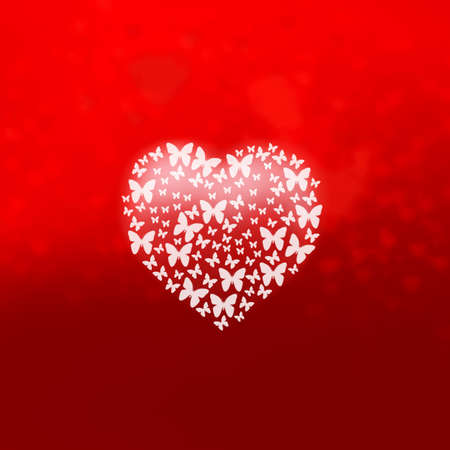 butterfly heart on red background Stock Photo - 17543920