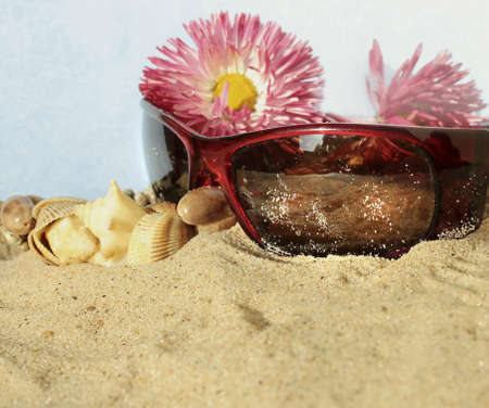 Fashion accessories and flowers in the sand of de beach Stock Photo - 18012461