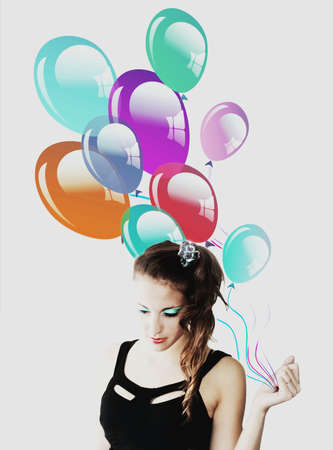 Happy teenager woman with balloons makeup photo