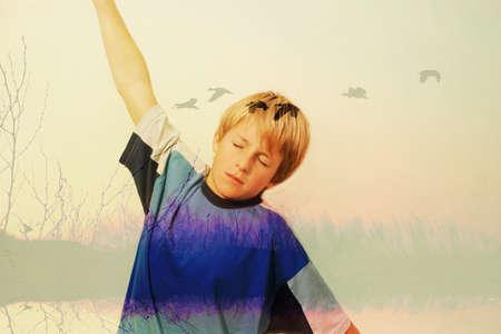 child figure in flight photo