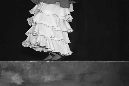 spanish woman: Spanish woman dancing on stage in black and white