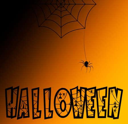Spider on orange Halloween night