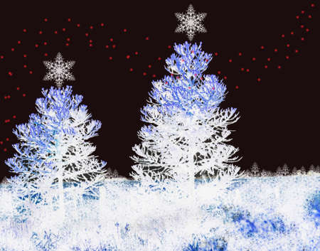 Christmas background with fir trees and xmas lights