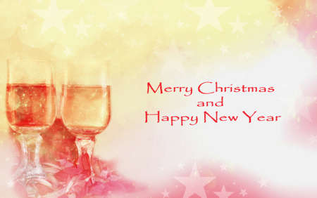 Glasses toasting in celebration of christmas and new year