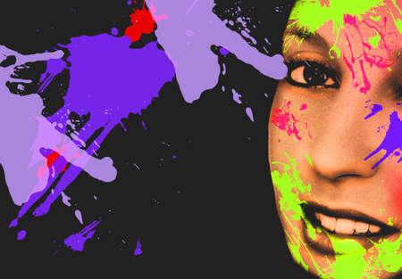 Beauty Girl Face with Vivid Makeup. Colorful crayons. Fashion Woman portrait close up. Bright colors. Long eyelashes, vivid eyeshadows make up