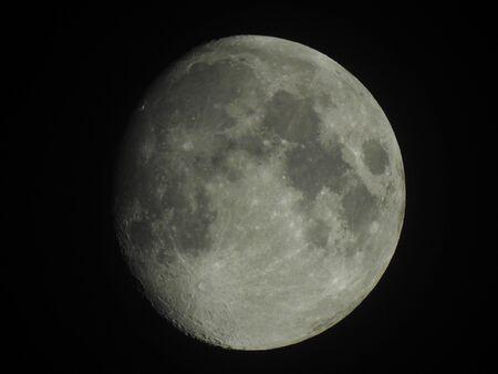 Clear moon in waxing gibbous