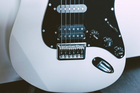 Wide view of an electric guitar bottom half