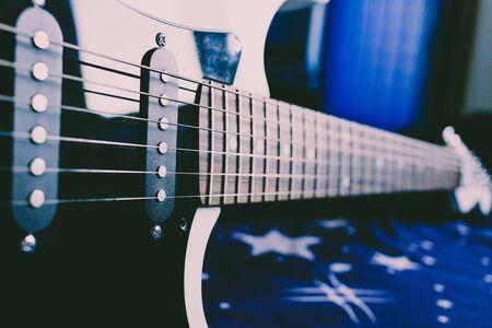 Closeup of an electric guitar pickups Imagens