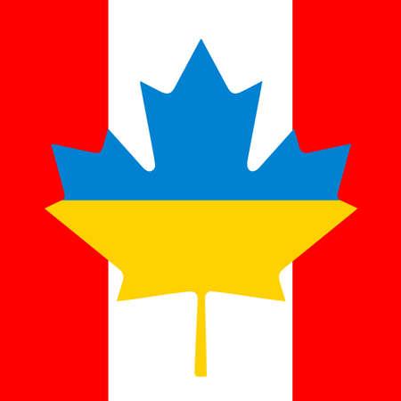 カナダのウクライナの旗の友情  イラスト・ベクター素材