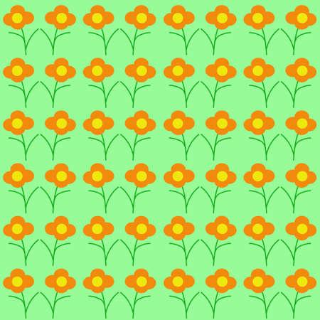 Japanese Pattern Wildflowers. Seamless Texture. Illustration