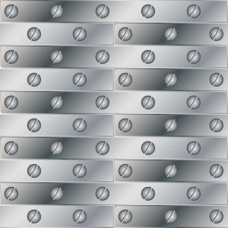 riveted metal: Seamless vector texture with riveted metal plates and screws. Illustration