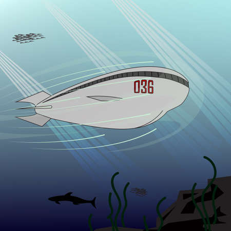 Submarine. Illustration of the future. Submarine of the future. Walk under the water. Walk under the sea.